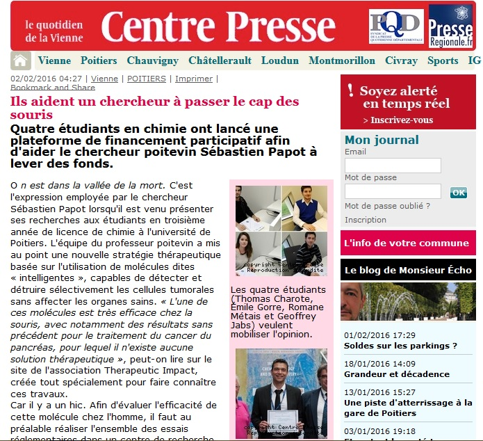 Article Centre Presse 2/02/2016