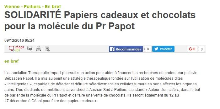SOLIDARITÉ Papiers cadeaux et chocolats pour la molécule du Pr Papot