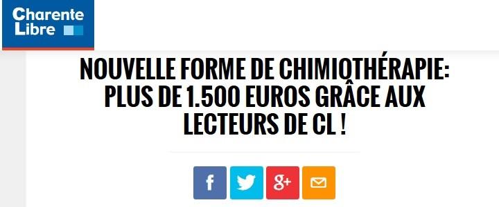 Nouvelle forme de chimiothérapie: plus de 1.500 euros grâce aux lecteurs de CL !